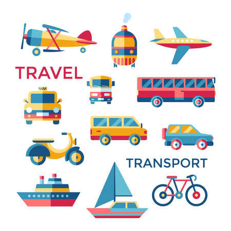 Digital vector blue red yellow travel transport icons set with drawn simple line art info graphic, presentation with car, tram and taxi elements around promo template, flat style