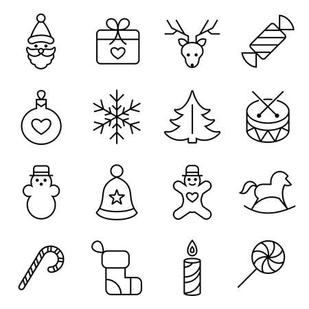 Digital vector black happy new year icons with drawn simple line art info graphic, presentation with toys and gifts elements around promo template, flat style