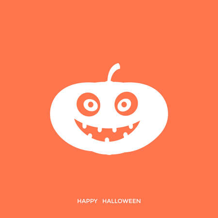 Digital vector orange happy halloween icon with drawn simple line art info graphic, presentation with big pumpkin scary spooky face promo template, flat style