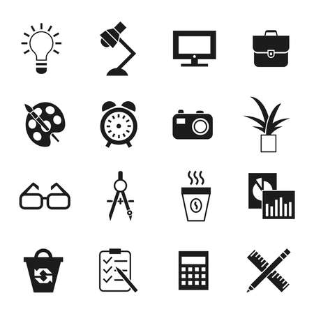 Digital vector black work space icons set with drawn simple line art info graphic, presentation with clock, calculator and office supplies elements around promo template, flat style Stock Photo