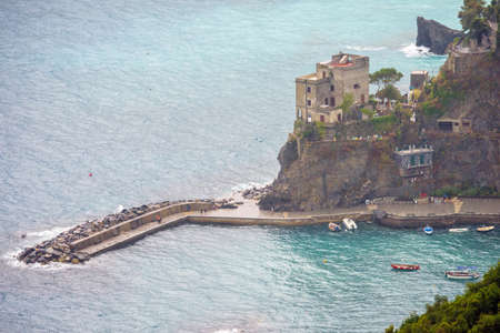 View from mountains to port of Monterosso al Mare, Cinque Terre, Italy.