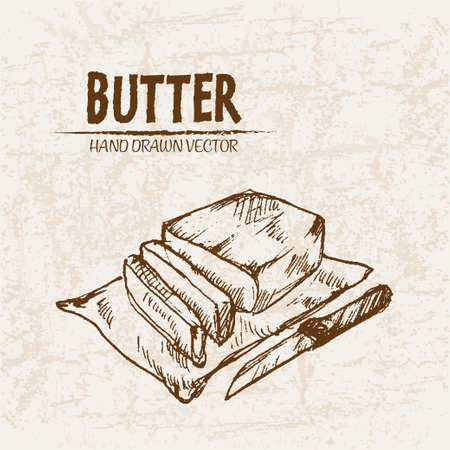 Digital vector detailed line art butter slices with knife hand drawn retro illustration collection set. Thin artistic pencil outline. Vintage ink flat, engraved mill doodle sketches. Isolated Stock Illustratie