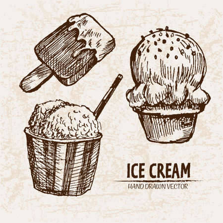 Digital vector detailed line art ice cream on stick and bowls hand drawn retro illustration collection set. Thin artistic pencil outline. Vintage ink flat, engraved design doodle sketches. Isolated
