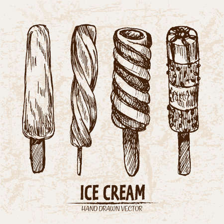 Digital vector detailed line art juicy ice cream on stick hand drawn retro illustration collection set. Thin artistic pencil outline. Vintage ink flat, engraved design doodle sketches. Isolated