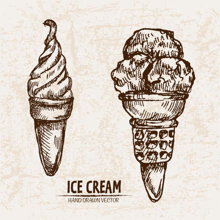 Digital vector detailed line art ice cream in waffle cones hand drawn retro illustration collection set. Thin artistic pencil outline. Vintage ink flat, engraved design doodle sketches. Isolated Stock Photo