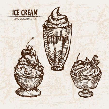 Digital vector detailed line art sundae ice cream in glass bowls hand drawn retro illustration collection set. Thin artistic pencil outline. Vintage ink flat, engraved design doodle sketches