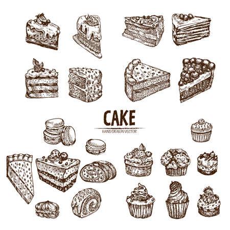 디지털 자세한 선 예술 케이크와 컵케익을 슬라이스 손으로 그린 복고 그림 컬렉션 집합입니다. 얇은 예술적 연필 개요입니다. 빈티지 잉크 평면, 새겨 스톡 콘텐츠