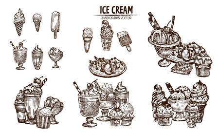 Digital vector detailed line art ice cream in cone and bowl hand drawn retro illustration collection set bundle. Thin artistic pencil outline. Vintage ink flat, engraved design doodle sketches Imagens - 91126691