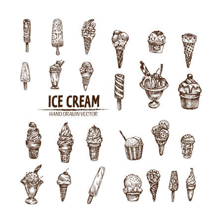Digital vector detailed line art ice cream in cone and bowl hand drawn retro illustration collection set bundle. Thin artistic pencil outline. Vintage ink flat, engraved design doodle sketches