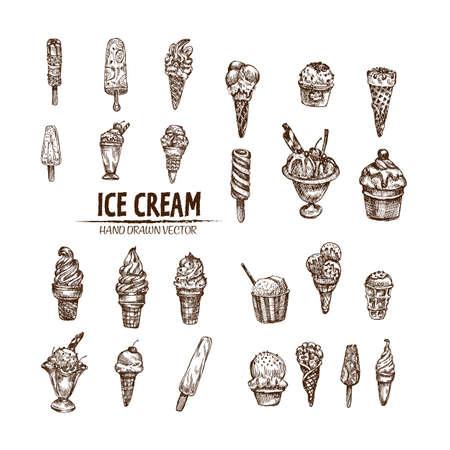 El vector digital detalló el helado del arte de la línea en el cono y el cuenco mano dibujada colección retra del ejemplo fijaron el paquete. Esbozo de lápiz artístico fino. Vintage tinta plana, bocetos de diseño grabado doodle