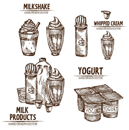Digital vector detailed line art milk, milkshake, whipped cream and yogurt in different packages hand drawn retro illustration collection set. Thin artistic pencil outline. Vintage ink flat