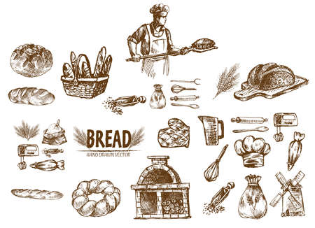Digital vector detailed line art bakery and bread hand drawn retro illustration collection set, stove oven. Thin artistic pencil outline. Vintage ink flat, engraved simple doodle sketches. Isolated Vectores