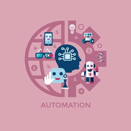 Inteligência artificial de vetor digital e tecnologias eletrônicas simples ícone plana definida. Internet do conceito de coisas com chip, carros e cérebro móvel. Idéias, óculos com câmera, jogos e robôs.