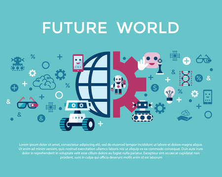 Digital vector artificial intelligence and electronic technologies simple flat icon set. Internet of things concept with chip, cars and mobile brain. Ideas, glasses with camera, games and robots.