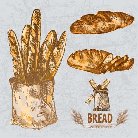 Pains d'or de couleur numérique vecteur ligne d'art de pain long et tressé, tranches, baguettes dans un sac organique, ensemble de blé dessinés à la main. Mince contour. Vintage encre plat, croquis gravés doodle moulin. Illustration isolée