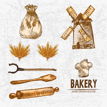 Vecteur de couleur numérique détaillé ligne art blé doré, fourchette, pale en bois et rouleau à pâtisserie, sac de farine avec ensemble de dessins dessinés à la main décrite. Encre vintage, croquis de la boulangerie doodle moulin. Illustration isolée