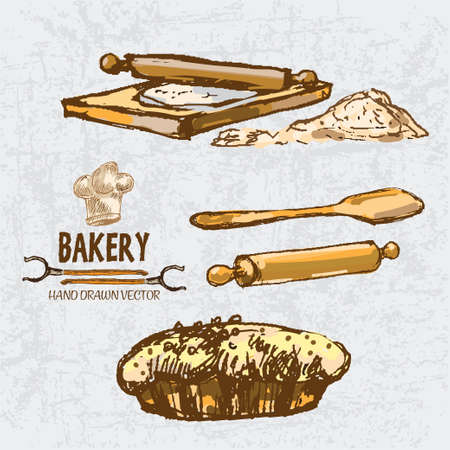 Digital color vector detailed line art golden pie with sesame, wooden paddle, oven forks, rolling pin on chopping board and flour hand drawn set. Vintage ink flat, engraved doodle sketches. Isolated illustration.