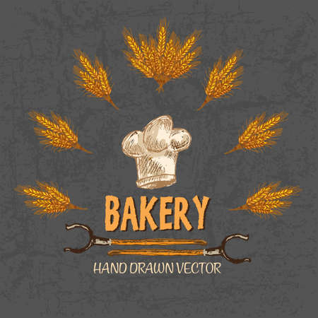 Digital color vector detailed line art golden bakery sign with wheat and oven forks hand drawn set. Thin pencil artistic outline. Vintage ink flat, mill doodle bakery sketches. Isolated