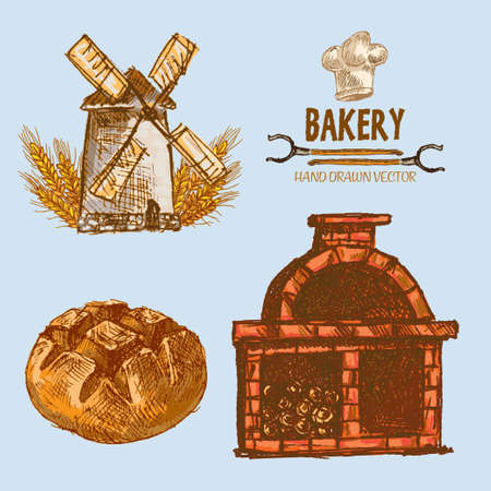Digital color vector detailed line art round bread, wheat an red brick oven with woods prepared for fire hand drawn illustration set. Vintage ink flat, engraved mill doodle sketches. Isolated