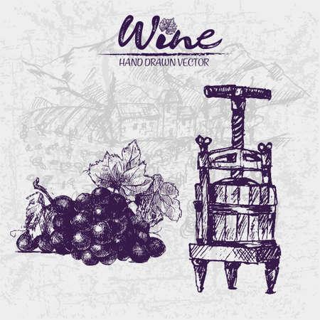 Digital color vector detailed line art vintage black grape bunch with leaves and wooden wine press hand drawn illustration set.