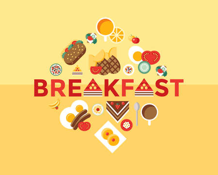 Digital vector breakfast meal fresh food and drinks color simple flat icon set with coffee eggs, fruits and sweet cakes.