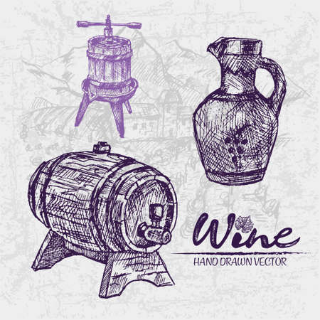 Digital color vector detailed line art vintage wooden barrel with tap, pitcher and wine press hand drawn illustration set. Thin pencil artistic outline. Vintage ink flat, engraved doodle sketches