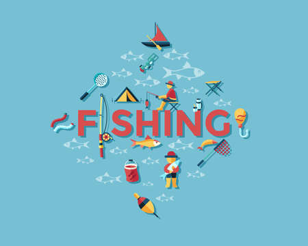 Digital vector fishing activity infographics set collection decoration objects color simple flat icon with holding net or rod, isolated
