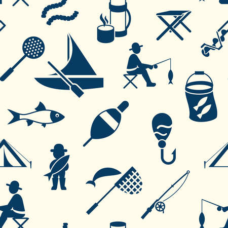 Digital vector seamless pattern fishing activity set collection decoration objects color simple flat icon with holding net or rod, isolated