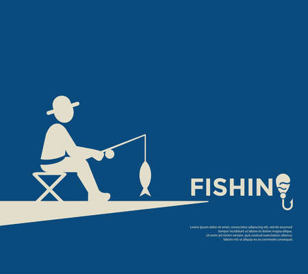Digital vector fishing activity set collection decoration objects color simple flat icon with holding net or rod, isolated Illustration