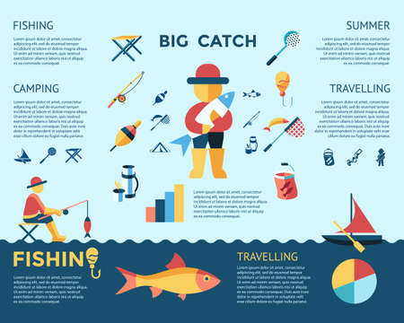Digital vector fishing activity infographics set collection decoration objects color simple flat icon with holding net or rod, big catch, isolated Reklamní fotografie