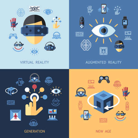 Digital vector virtual augmented reality concept set collection objects color simple flat icon, next generation gaming