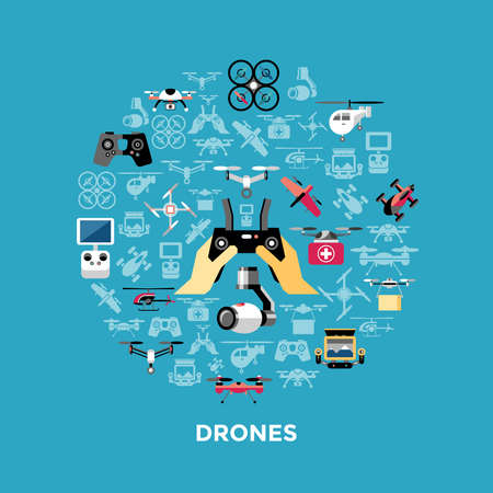 Digital vector flying drone objects color simple flat icon set collection, isolated