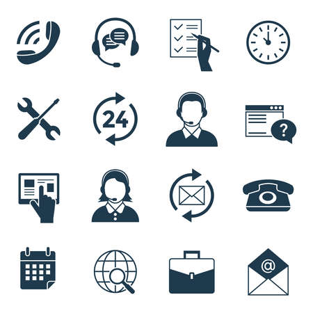 Digital call center and customer support concept, objects color. Simple flat icon set collection, isolated illustration.