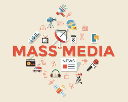 Digital mass media objects color simple flat icon set collection, isolated infographics