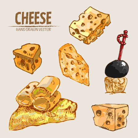 Digital vector detailed line art sliced cheese on skewer hand drawn retro illustration collection set. Thin artistic pencil outline. Vintage ink flat, engraved mill doodle sketches. Isolated Vectores
