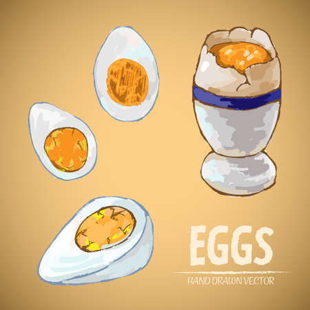 Illustration of cooked eggs an egg in cup on a brown background Иллюстрация
