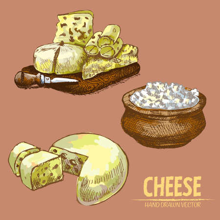 Illustration of sliced and grated cheese products Иллюстрация