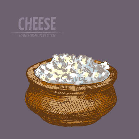 Illustration of grated cheese in a pot on a purple background