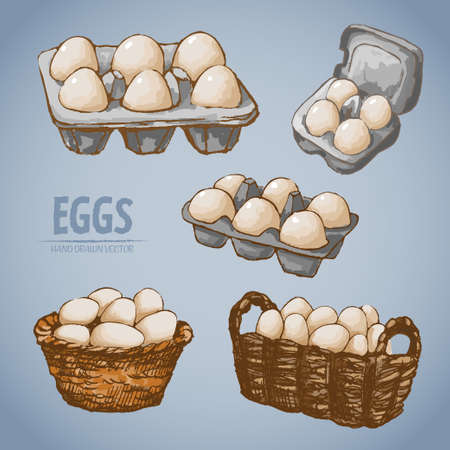 Illustration of a set of packed eggs in baskets and trays