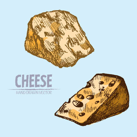 Illustration of two sliced cheese pieces on a blue background