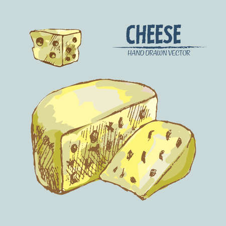Illustration of sliced cheese pieces on a blue background Çizim