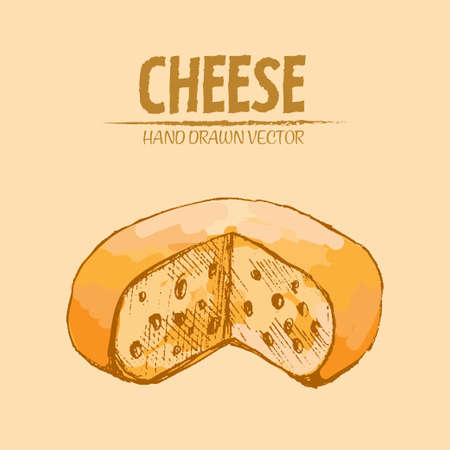 Illustration of a sliced cheese piece with holes