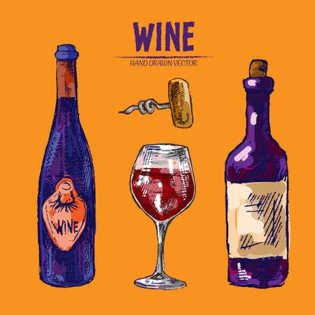 Digital vector detailed line art wine bottle, wineglass and opener hand drawn retro illustration collection set. Thin artistic pencil outline. Vintage ink flat, engraved design doodle sketches