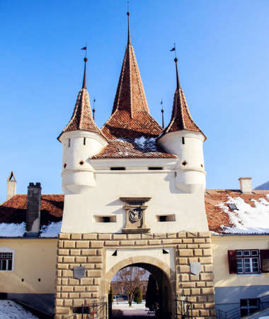 Famous gate of the Ecaterina in the city of Brasov, Romania