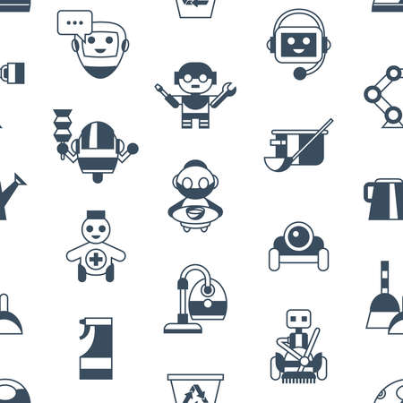 Digital vector service and cleaning home machine robots simple icons, flat style seamless pattern infographics Stock Photo