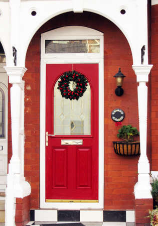 the red door with the Christmas crown on it, Southport, England