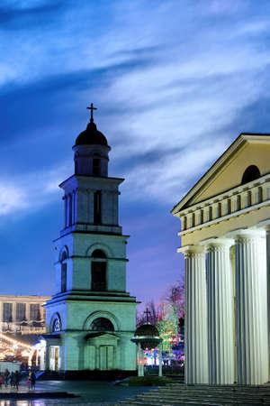 Main church and bell tower at dusk in Chisinau, Moldova