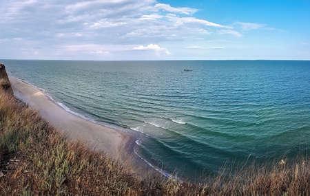 Panorama view of the Black sea from the cliff near the shore in Kurortnoye, Ukraine