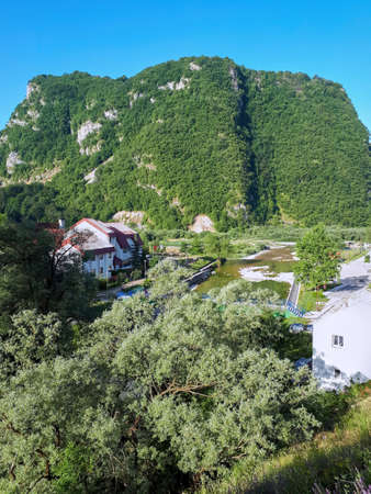 A few houses with trees on the foreground, a hill covered with lush greenery in Montenegro