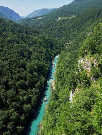The Tara river flowing in a canyon between hills covered with lush greenery in Montenegro